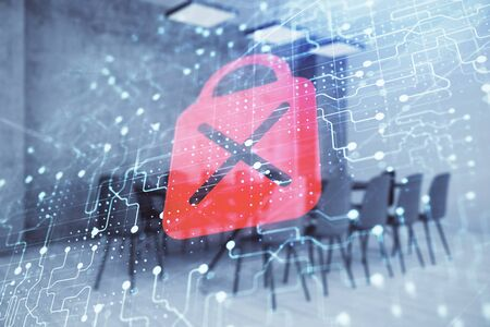 Double exposure of lock icon hologram on conference room background. Concept of cyber security