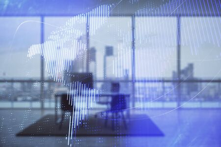 World map hologram and minimalistic cabinet interior background. Double exposure. International business concept.