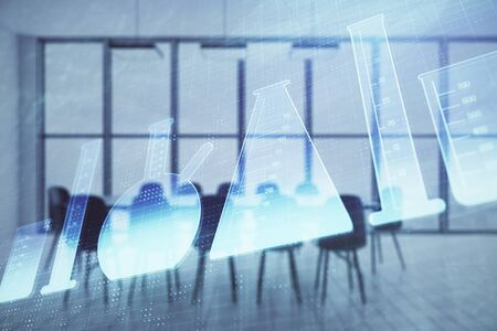 Double exposure of flasks drawing on conference room background. Concept of education