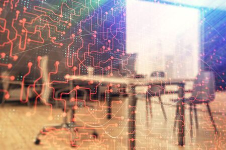 Tech theme abstract hologram and minimalistic cabinet interior background. Double exposure. High technology concept.