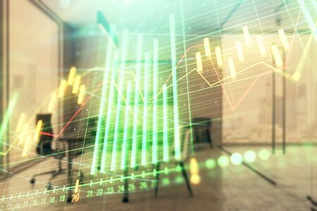 Business theme graph hologram with minimalistic cabinet interior background. Double exposure. Stock market concept. Stok Fotoğraf