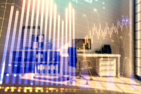 Forex chart hologram with minimalistic cabinet interior background. Double exposure. Stock market concept. Stok Fotoğraf