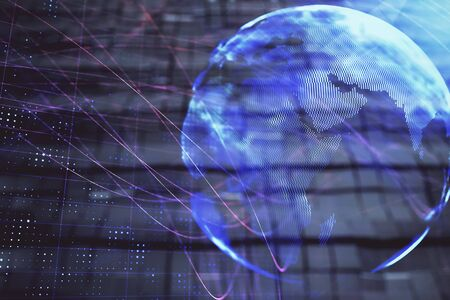 Globe hologram and abstract background. Double exposure. Concept of international business. Stockfoto
