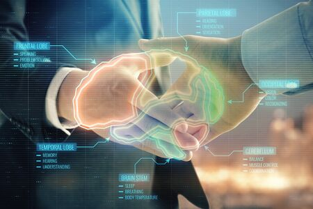 Double exposure of human brain hologram on city view background with handshake. Concept of education