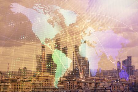 Double exposure of world map on city veiw background. Concept of international trading Stockfoto