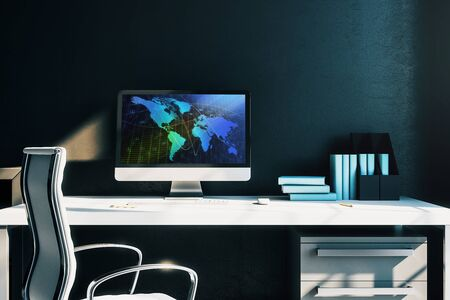 Cabinet desktop interior with world map on computer screen. Concept of international market and trading. 3d rendering.