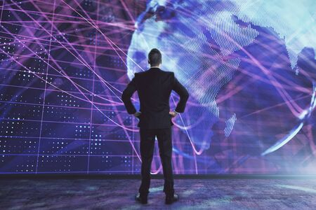 Businessman and world map hologram. Double exposure. Concept of international finance Stockfoto