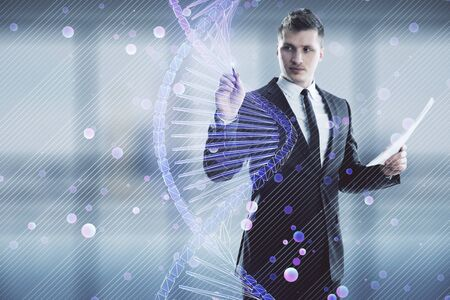 Man and DNA drawing hologram. Double exposure. Concept of education