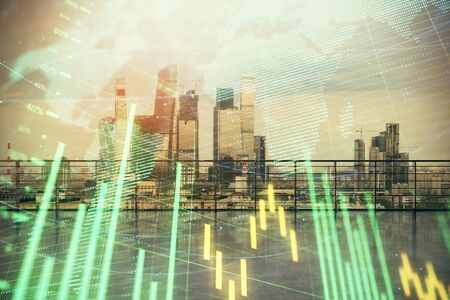 Forex graph with map hologram with city view from roof background. Double exposure. Financial analysis concept.