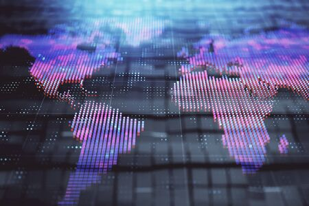 Globe hologram and abstract background. Double exposure. Concept of international business. Stok Fotoğraf - 133630391