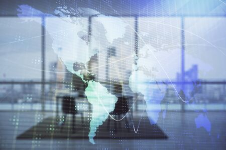 World map and minimalistic cabinet interior background. Double exposure. International business concept. Stockfoto