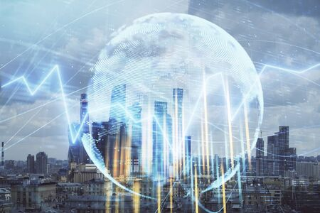 Double exposure of financial graph and world map on city veiw background. Concept of financial market research and analysis