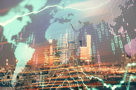 Double exposure of financial graph and world map on city view background. Concept of financial market research and analysis Stockfoto