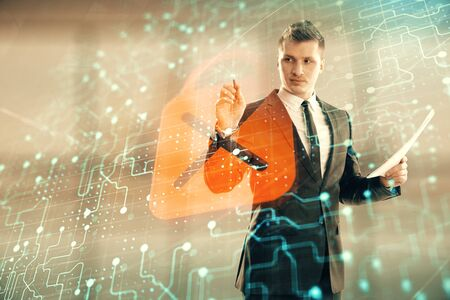 Businessman and lock icon hologram. Double exposure. Concept of data security Stockfoto