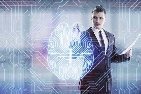 Man and brain icon hologram. Double exposure. Concept of data development