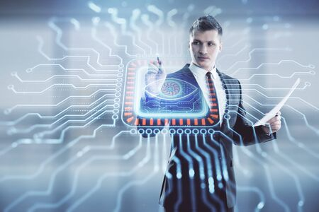 Businessman and abstract tech drawing. Double exposure. Concept of technology innovation Stockfoto
