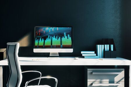 Cabinet desktop interior with financial charts and graphs on computer screen. Concept of stock market analysis and trading. 3d rendering.