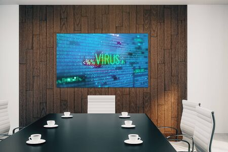 Conference room interior with hacking picture on screen monitor on the wall. Data safety concept. 3d rendering. Banco de Imagens