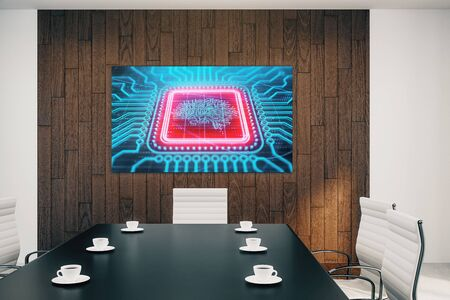 Conference room interior with human brain drawing on screen on the wall. Brainstorm concept. 3d rendering.
