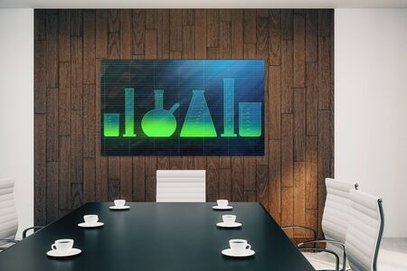 Conference room interior with laboratory flasks on screen monitor on the wall. Education concept. 3d rendering.