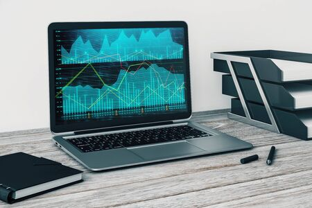 Laptop closeup with forex graph on computer screen. Financial trading and education concept. 3d rendering.