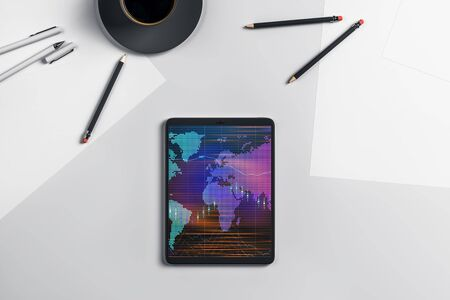 Digital tablet closeup top view with financial graph and partial world map on screen. Online international trading application concept. 3d rendering.