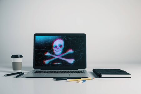 Laptop closeup with cyberpiracy drawing on computer screen. Data safety concept. 3d rendering.