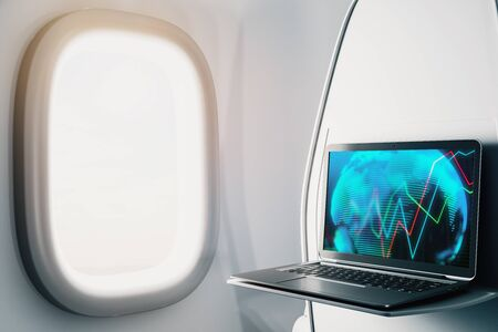 Laptop closeup inside airplane with forex graph and world map on screen. Financial market trading concept. 3d rendering.