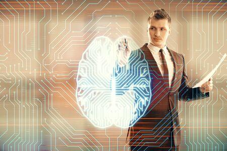 Man and brain icon hologram. Double exposure. Concept of data development