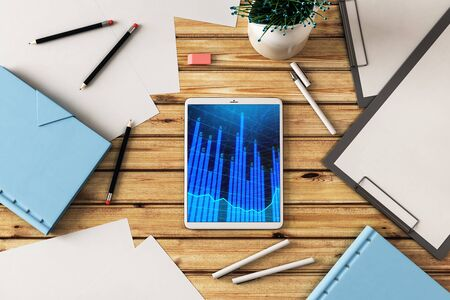 Digital tablet closeup top view with financial graph on screen. Online trading application concept. 3d rendering. Stock fotó