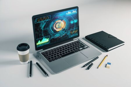 Laptop closeup with abstract tech drawing on computer screen. Technology innovation concept. 3d rendering.