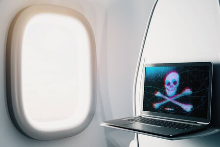 Laptop closeup inside airplane with hacking theme pic on screen. Data safety concept. 3d rendering.