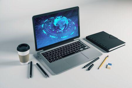 Laptop closeup with world map on computer screen. International education concept. 3d rendering. Stok Fotoğraf - 137173377