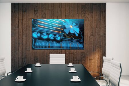 Conference room interior with business theme screen on the wall. brainstorm concept. 3d rendering.