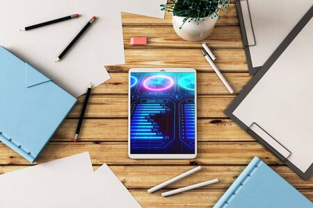 Digital tablet closeup with business theme picture on screen. Technology innovation concept. 3d rendering.
