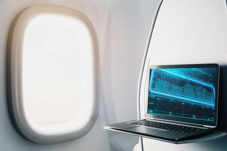 Laptop closeup inside airplane with business theme pic on screen. On air online business concept. 3d rendering.