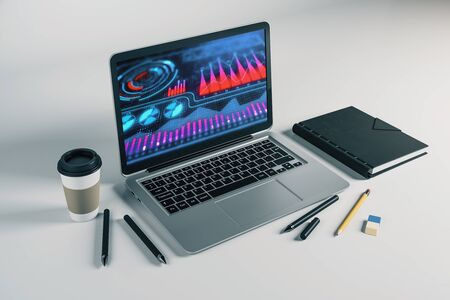 Laptop closeup with business theme drawing on computer screen. 3d rendering.