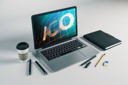 Laptop closeup with bitcoin theme drawing on computer screen. Blockchain concept. 3d rendering.
