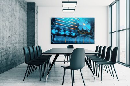 Conference room interior with business theme screen on the wall. brainstorm concept. 3d rendering. Stok Fotoğraf - 137173492