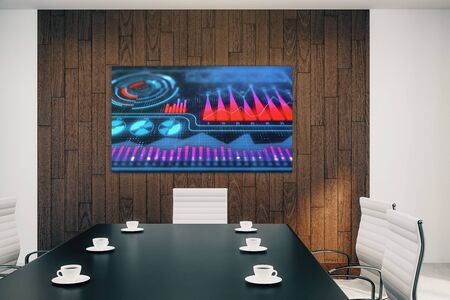 Conference room interior with business theme screen on the wall. brainstorm concept. 3d rendering. Stok Fotoğraf - 137173495