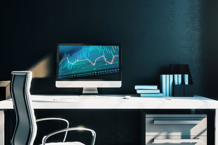 Cabinet desktop interior with financial charts and graphs on computer screen. Concept of stock market analysis and trading. 3d rendering. Stok Fotoğraf - 137173496