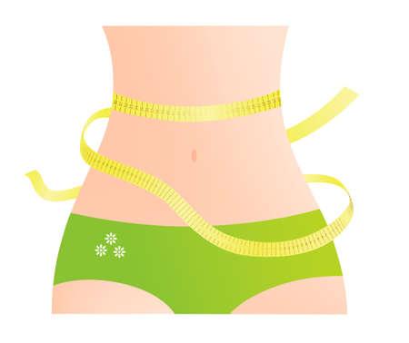 waist: Measuring female waist with yellow tape