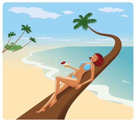 woman lying down: Woman in bikini lying down on a palm Stock Photo