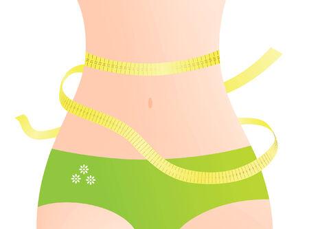 belly button: Medir la cintura femenina  Vectores
