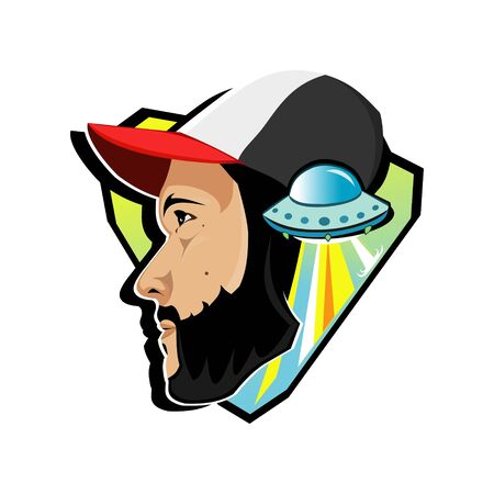 Man in a baseball cap and UFO Stock Illustratie