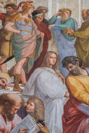 Seal's stay, Hypatia at the school of Athens, Musei Vaticani, State of the Vatican City, Rome, Lazio, Italy Banque d'images - 151745533