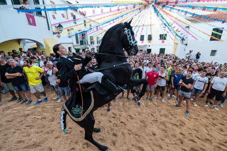 Jaleo, traditional dance with horses, originating from the 14th century, fiestas of Sant Bartomeu, Ferreries, Menorca, balearic islands, Spain