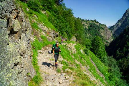 Clarabide gorges trail, Pyrenees mountain range, France Editorial