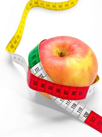 benchmark: red apple with tape measure