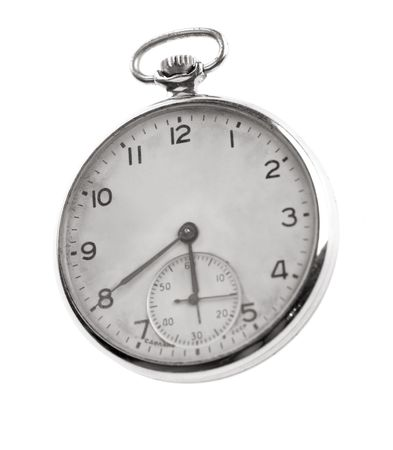 analogue: vintage pocket watch on white background